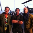 Prima imagine cu Schwarzenegger,  Willis si Stallone in Expendables 2